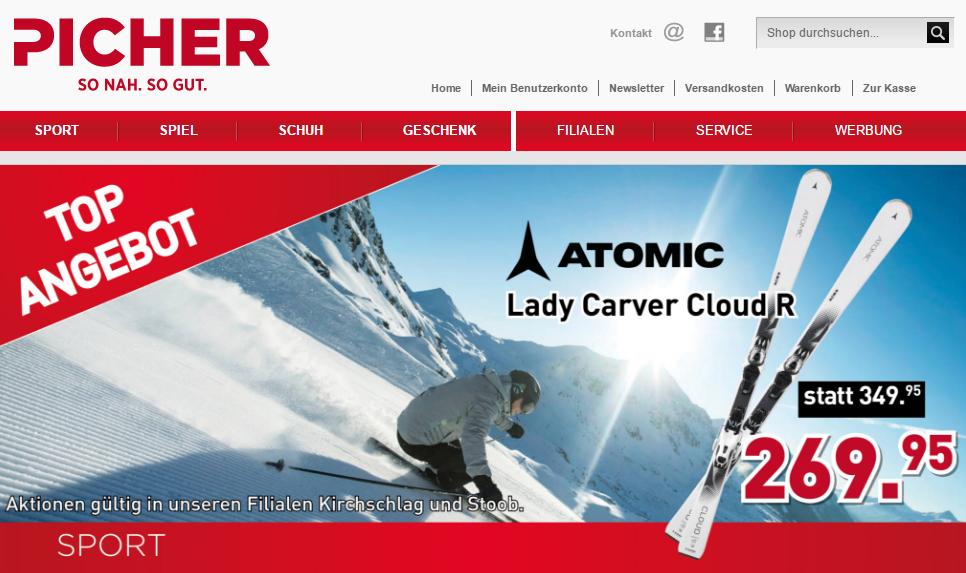 B2C Onlineshop Picher Startseite