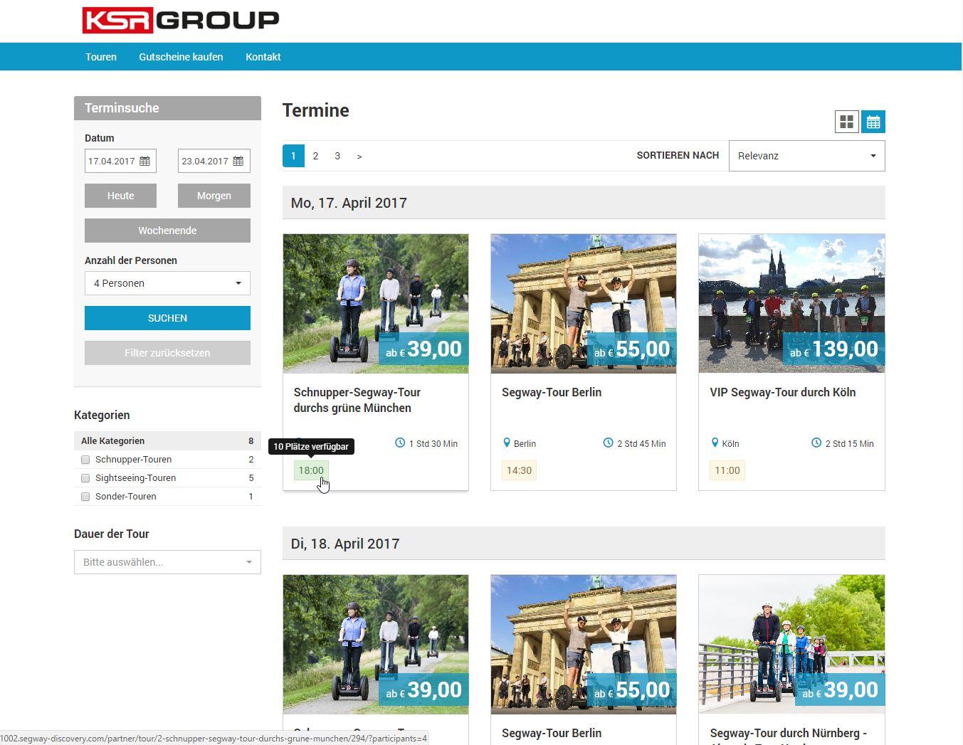 Online Buchungssystem Startseite